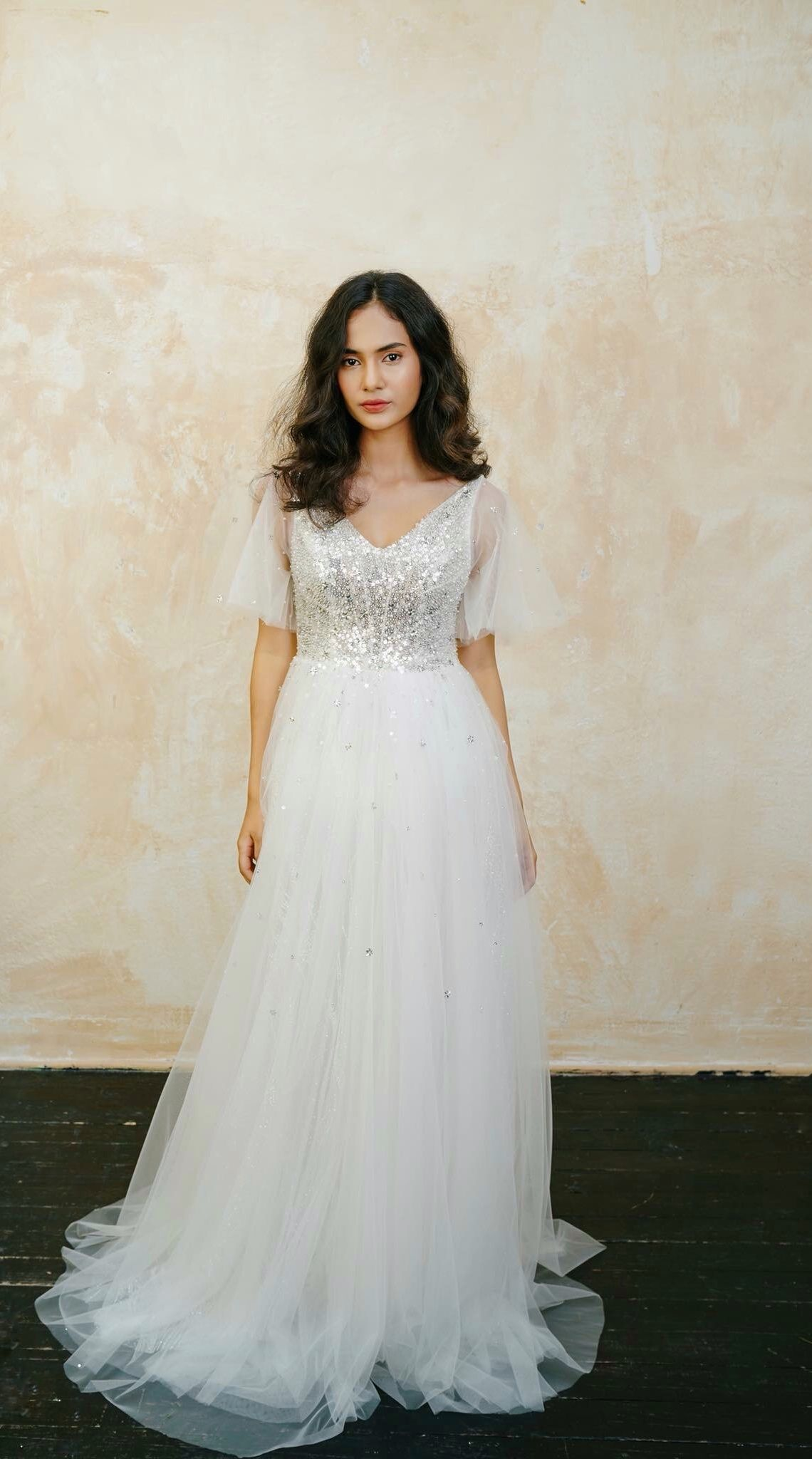 Aline Wedding Dress Flutter Sleeves Bridal Gown Sparkly