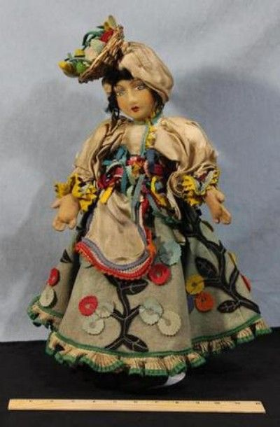 RARE! Early Antique *Carmen Miranda* Lenci Molded