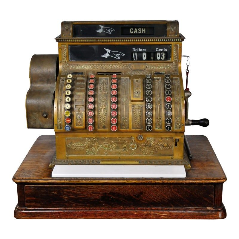 Antique Decorative Cash Register designed and manufactured by National Dayton Ohio.  Serial number: 1529578451- F   Dimensions: W 25.5