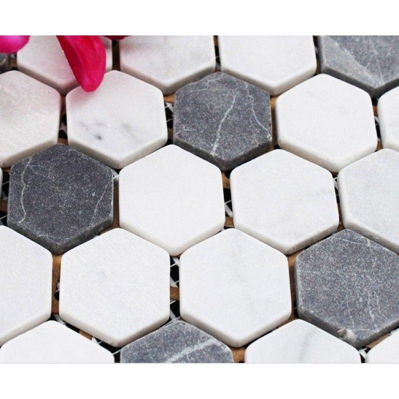 Hexagon Stone Mosaic Tiles Pattern Washroom Wall Black And Cream Marble Kitchen Backsplash Floor Sgs08c