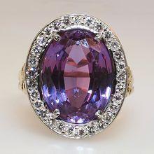 Glamorous Synthetic Alexandrite & Diamond Cocktail Ring