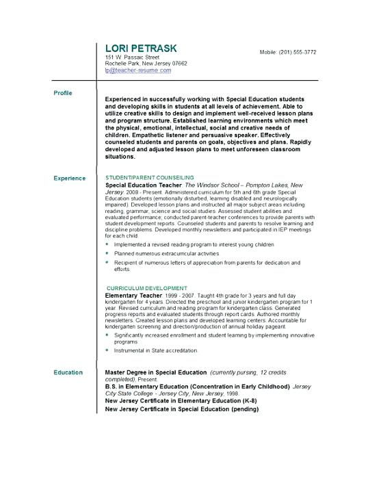 Format For Teacher Resume Trainer Resume Pattern Teacher