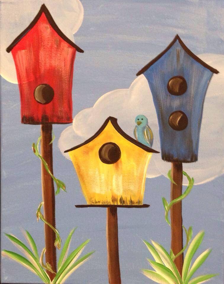 Birdhouses Simple Acrylic Paintings Canvas Painting Diy Art