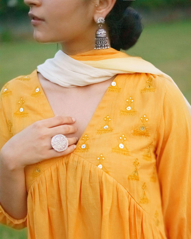 Honey Yellow Pure Mulmul Kurta with Abla Handwork