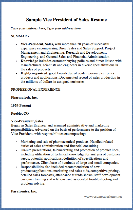 Sample Vice President Of Sales Resume Type Your Address Here Type Your Address Here Summary Vice President Sales With More Than 30 Years Of Successful Exper