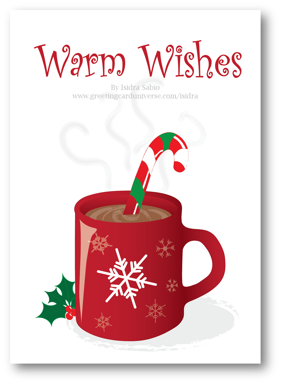 Christmas Warm Wishes Hot Chocolate And Candy Cane Card Afro