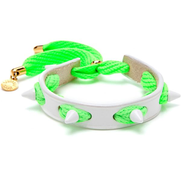 Caroline Baggi Punky Leather, Shoelace, and Studded Bracelet (£44) ❤ liked on Polyvore featuring jewelry, bracelets, accessories, neon green, punk rock jewelry, leather jewelry, studded jewelry, leather bangle and caroline baggi