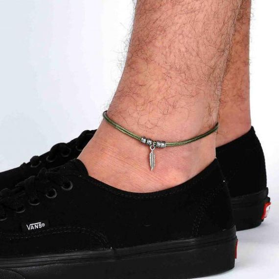 Infinity Anklet For Men Ankle Bracelet For Men Handmade Blue Anklet For Men Set With Silver Plated Infinity Pendant By Galis Jewelry