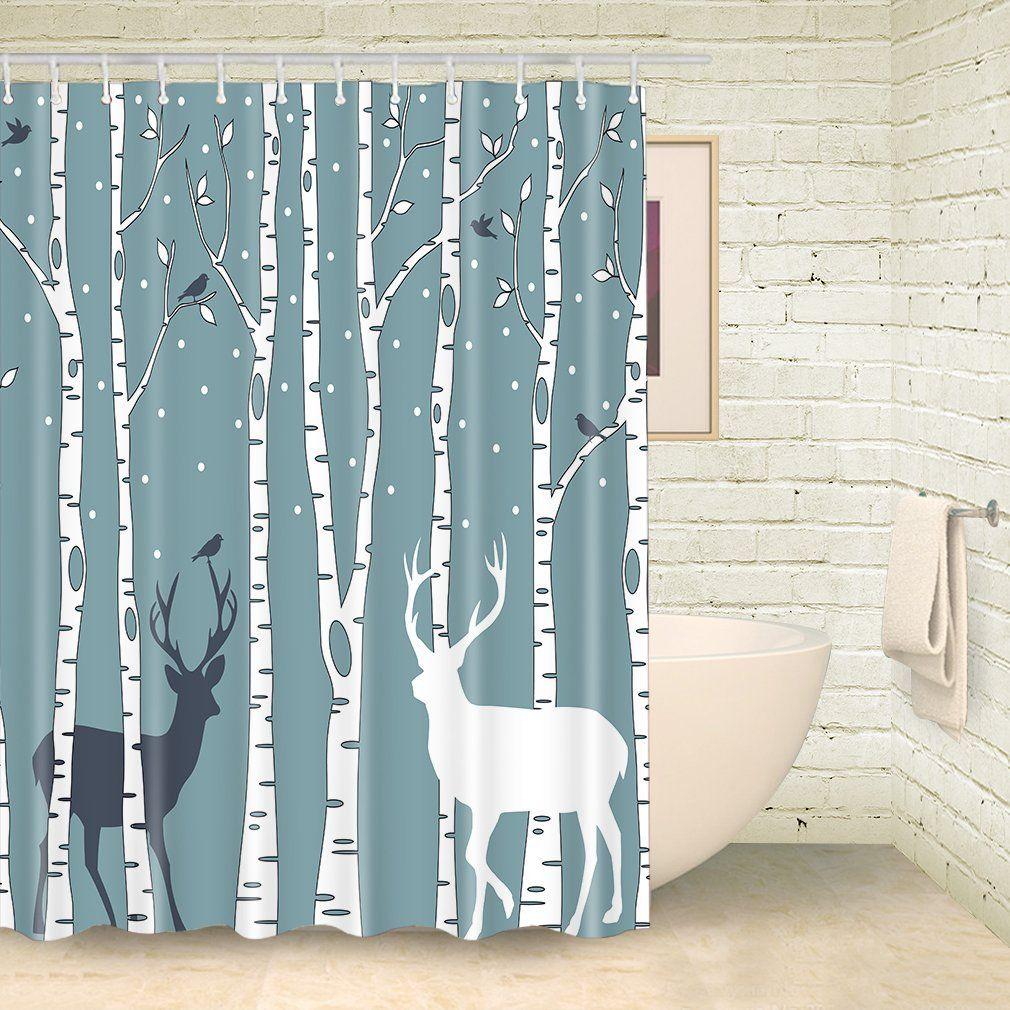 Amazon Com Foog Shower Curtain Christmas Deer Birds Bathroom