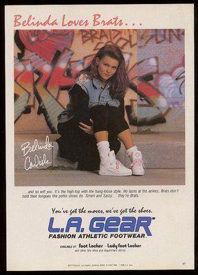 1989 Belinda Carlisle photo in jeans jacket L.A. Gear shoes vintage print ad