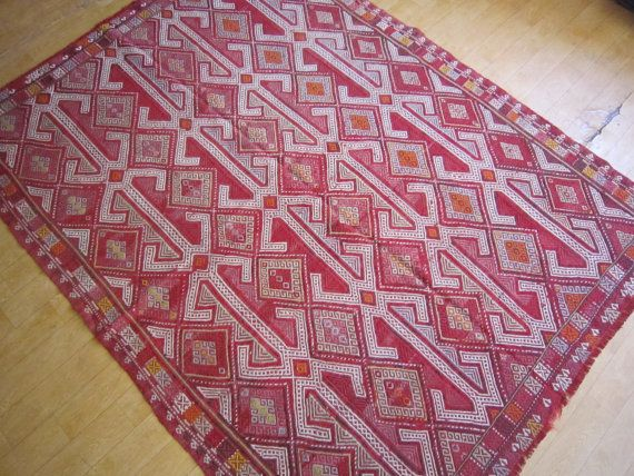 Old Handmade Kilim 7'3x5'6 feet 222 x by negrahandicraft on Etsy