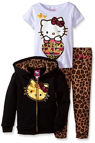 34622916b Amazon.com: Hello Kitty Little Girls' Toddler So Fancy 3PC Hoodie Legging  Set, Sea Glass, 2T: Clothing