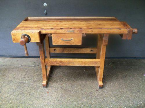 Antique Maple Cabinetmaker Carpenter Workbench C