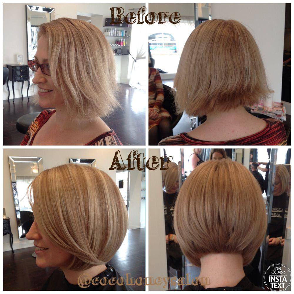 razor cut concave bob, deep natural very light blonde; with copper