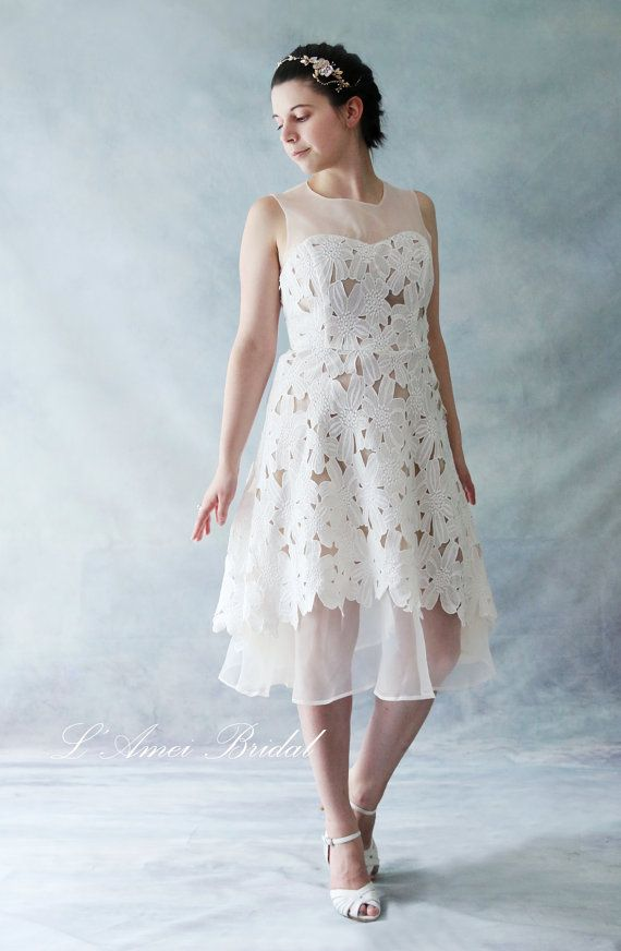 Custom Short Knee / Tea Length Ivory Lace A-Line wedding dress ...