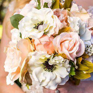 White Rose Bouquet - Off White Wedding Bouquet - Rose Bouquet - Real Touch Rose Bouquet - Realistic Rose Bouquet - Bridesmaid Bouquet #silkbridalbouquet