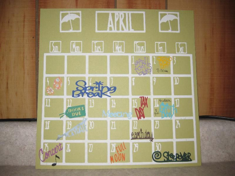 DesignerS Calendar Cricut Cartridge Project  Create Your Own