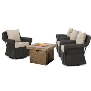Shop for Arlington Outdoor 5-piece Gas Firepit Seating Set by Christopher Knight Home. Get free delivery at Overstock.com - Your Online Garden