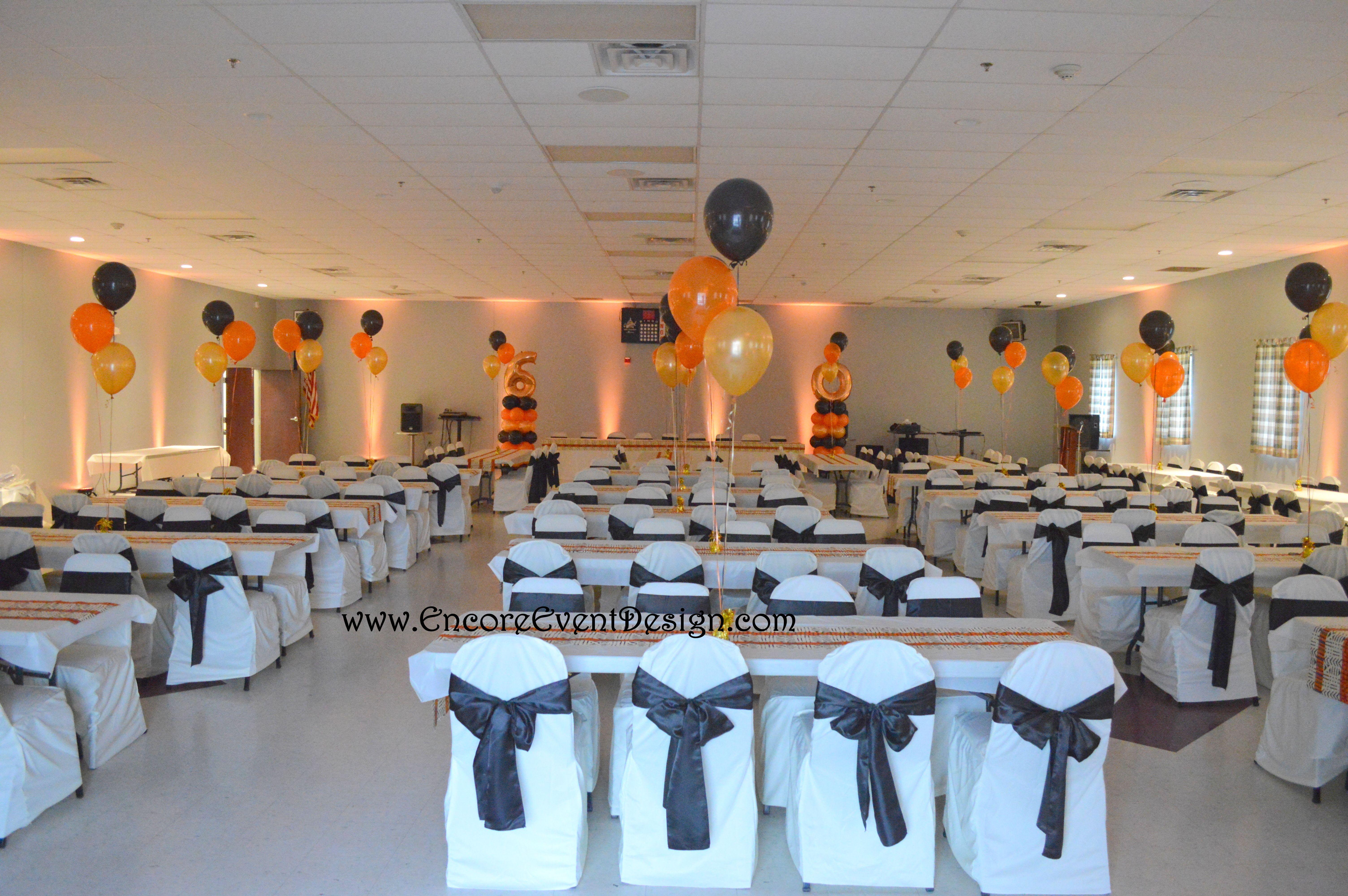 Balloon decor birthday party in black orange ivory and
