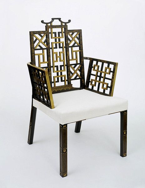 Armchair   John Linnell, 1754. London. Beechwood frame, gilt and japanned, with traces of red paint below; modern upholstery. The form of this chair with its rectilinear back and arms filled with Chinese fretwork remained popular until the 1770s. Thomas Chippendale included designs for Chinese chairs in his Director, first published in 1754.