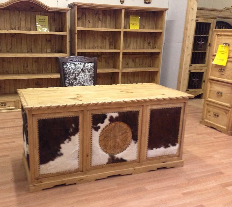 cowhide desk from rustic furniture depot | crafts/diy | pinterest