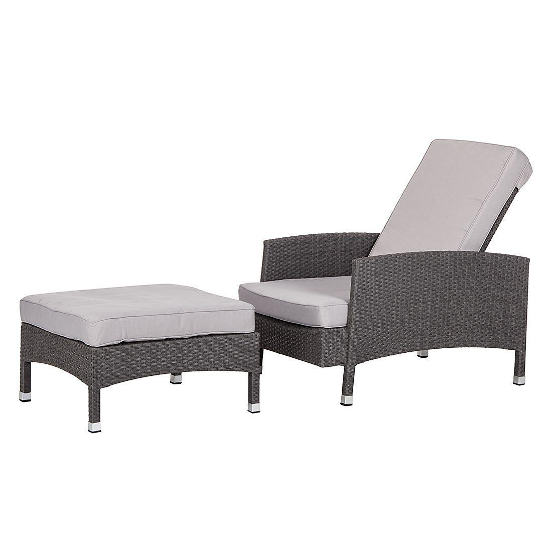 sessel set paradise lounge mit hocker polyrattan grau. Black Bedroom Furniture Sets. Home Design Ideas