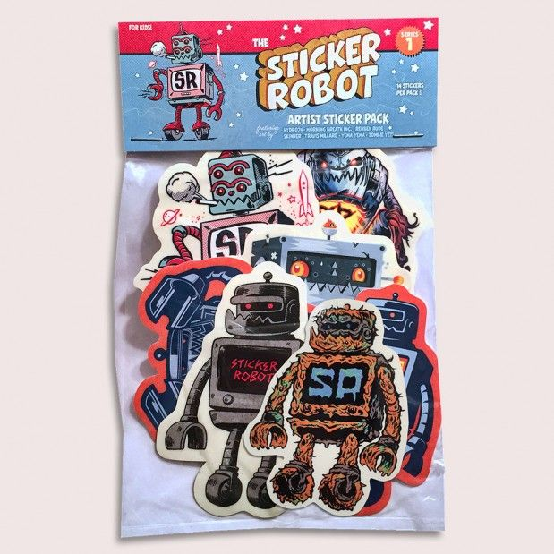 Custom sticker robot sticker packs featuring skinner travis millard hydro74 yema yema