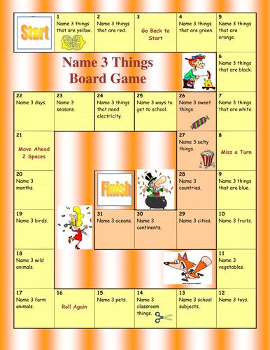 Name 3 things Board Game   Gaming   English games, Grammar