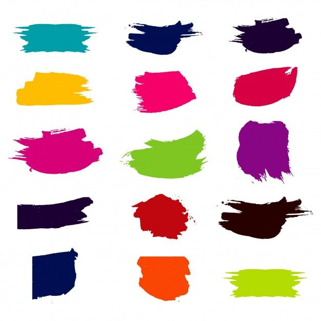 Modern Colorful Watercolor Brush Set Free Vector Free Vector