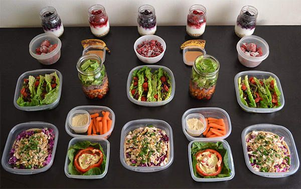 No-Cook Meal Prep for the 1,200–1,500 Calorie Level | Yummm I would just  use protein shakes instead of the shakes they refer to :)