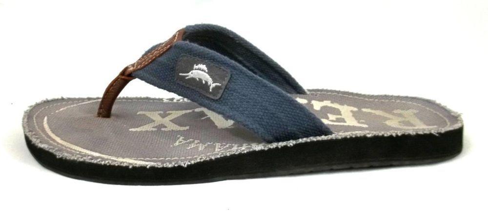 92c578e2606 Tommy Bahama Flip Flops Blue Canvas Slide On Thongs Shoes Mens Size 12   TommyBahama  FlipFlops
