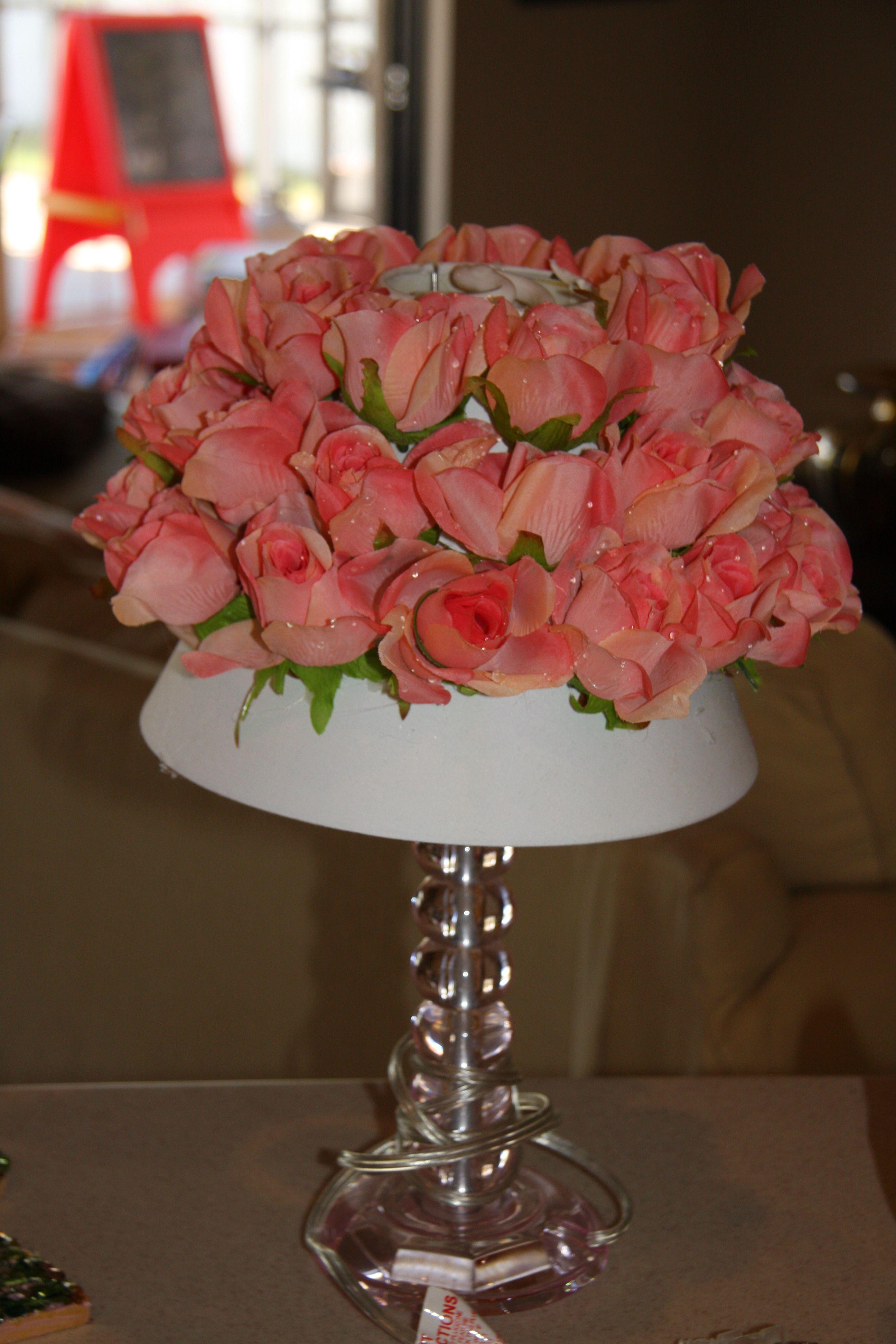 Flower Lamp Shade : Diy silk flower lamp shade redo in progress janes room