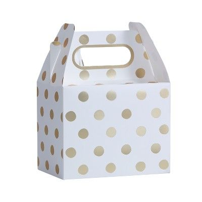 5ct Ginger Ray Gold Foiled Polka Dot Party Boxes Pick And Mix, White Gold
