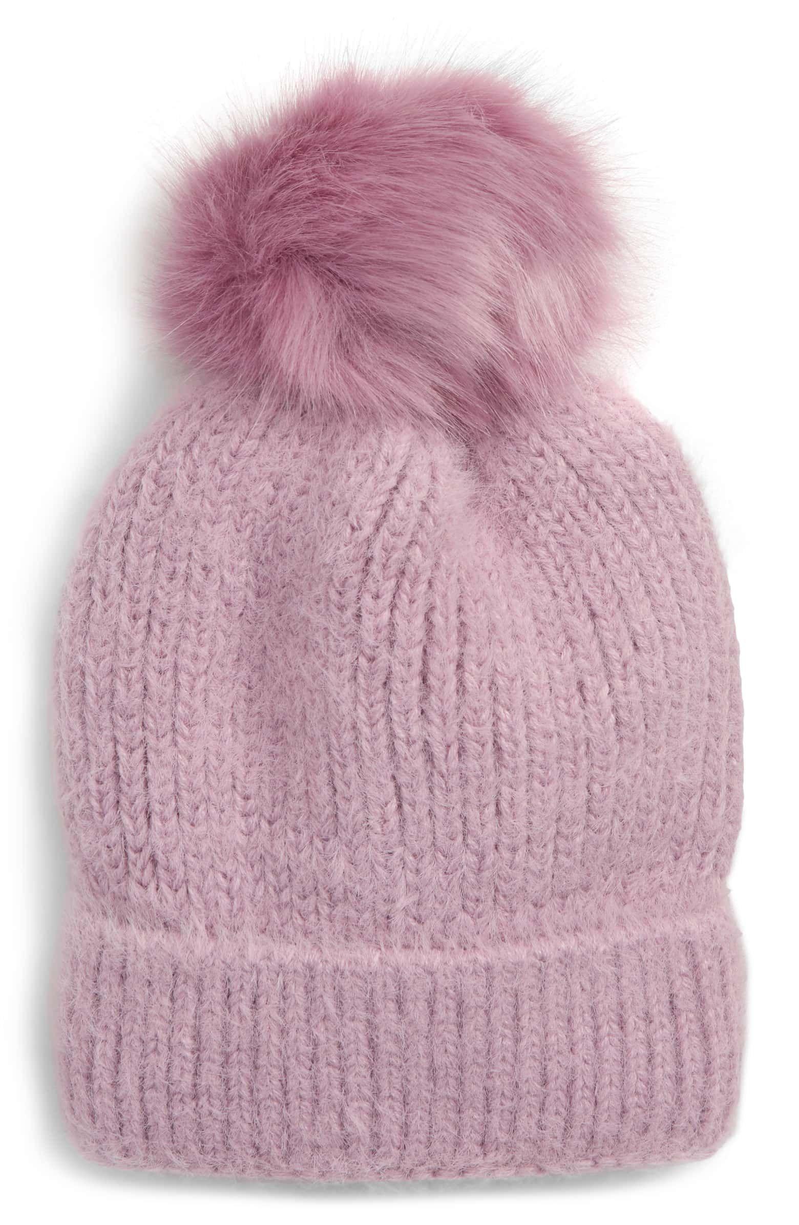 e22b3b86bb1e8 Faux Fur Pompom Beanie