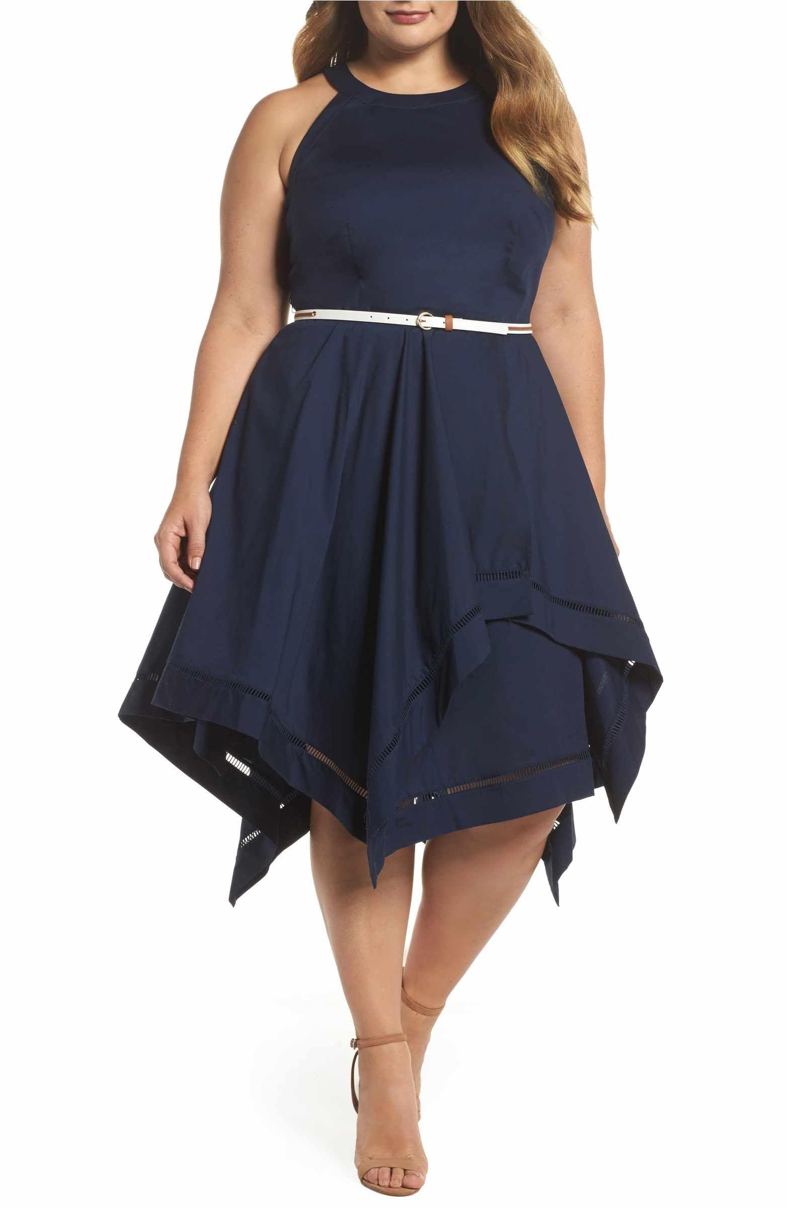 53b27e8944e24 Main Image - Eliza J Handkerchief Hem Fit   Flare Dress (Plus Size ...