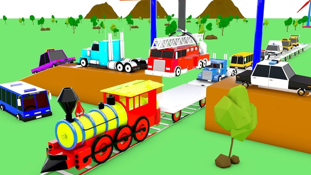 Learn Colors for Children with Transport Street Vehicles on Train ...