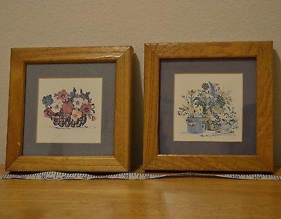 Art patricia shilling stewart blue wooden framed art rare blue mat flowers please retweet