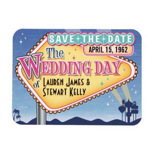 Vintage Vegas Save The Date Magnet