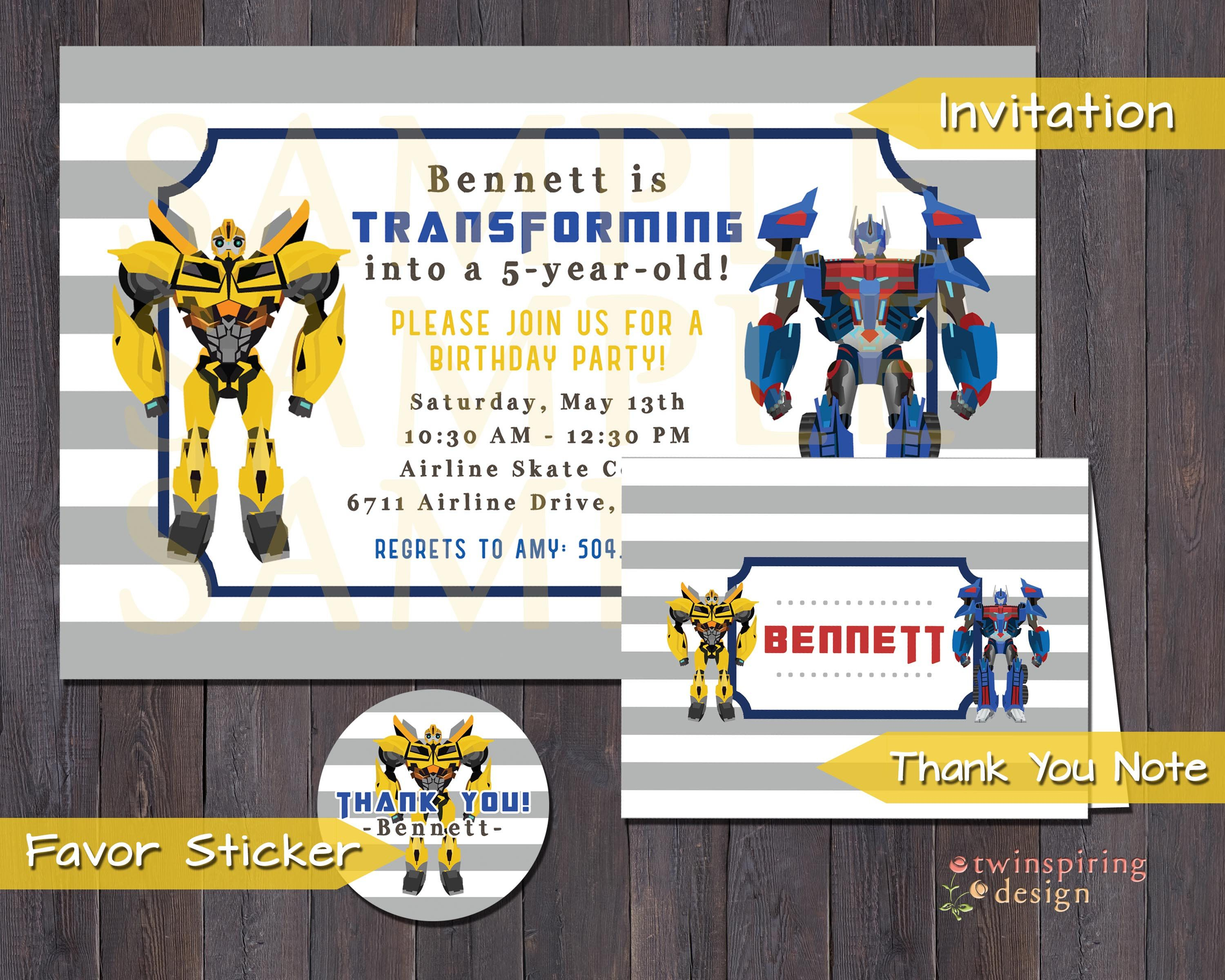 Clean modern transformers birthday party invitations thank you clean modern transformers birthday party invitations thank you notes andor favor filmwisefo Images