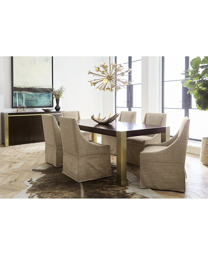 CLOSEOUT Jameson Expandable Dining Furniture 7 Pc Set Table 6 Upholstered Castered Chairs