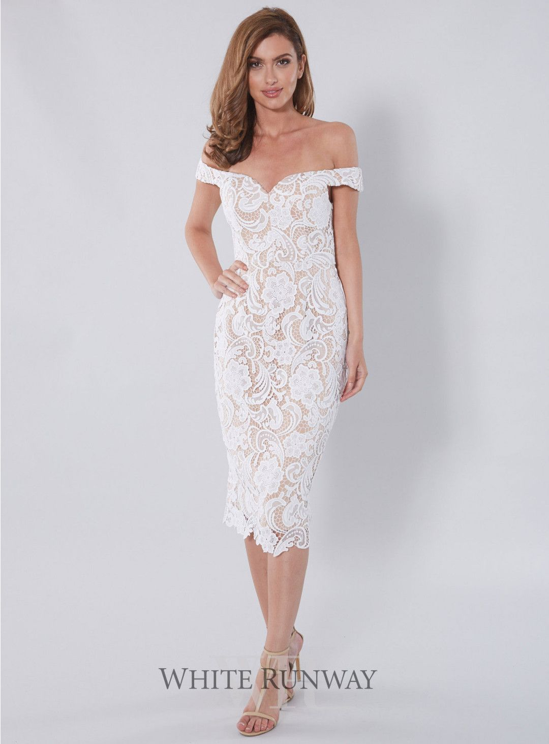 Stella Dress Stunning Lace Dress By Australian Designer Love Honor A Flattering Midi Dress With A Sw White Bridal Shower Dress Bridal Shower Dress Lace Dress