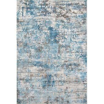 Indira Gray Light Blue Area Rug