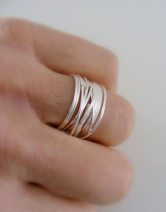 Silver Ring  Wide Band Ring  Wire ring  Stacking ring   Rings