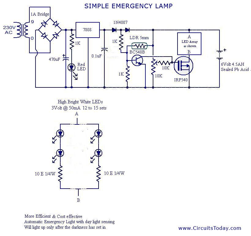circuit diagram emergency light  table lamp wire diagram