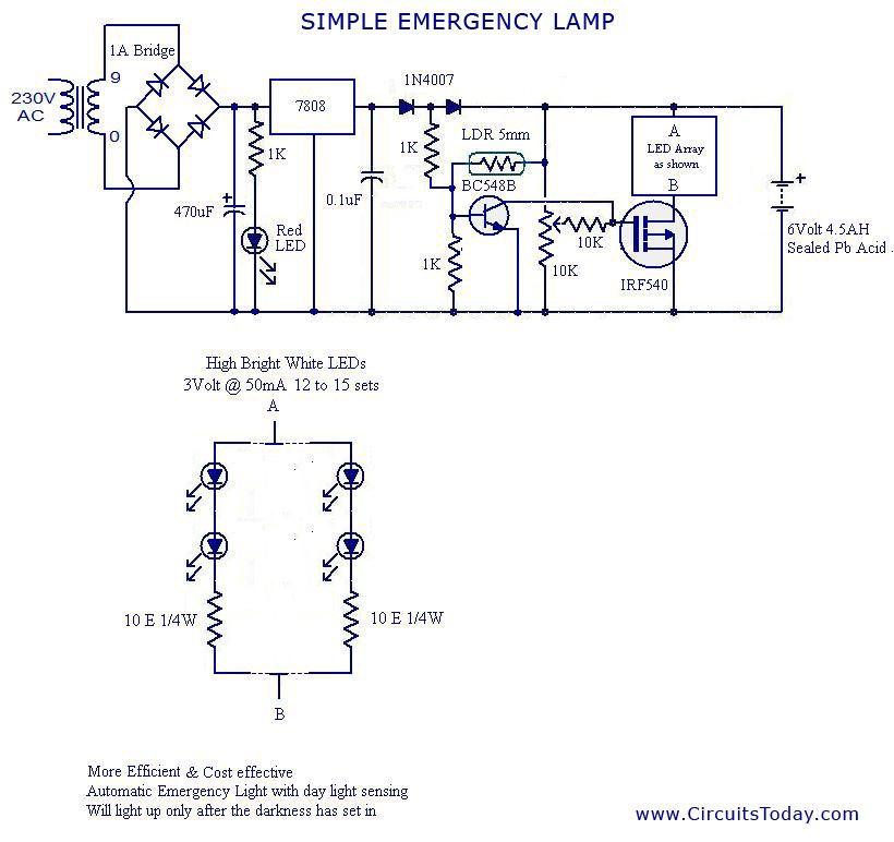 circuit diagram emergency light  table lamp wire diagram