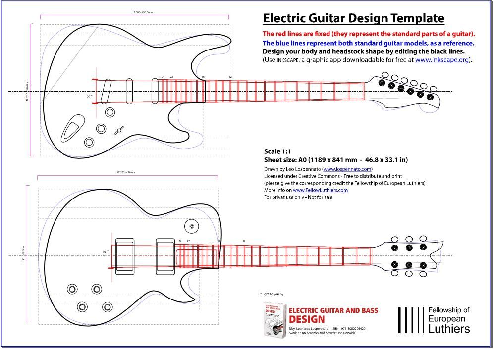 An editable blueprint of a les paul and a stratocaster for Electric guitar body templates
