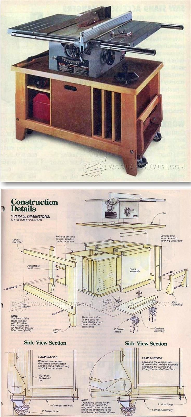 table saw stand plans table saw tips jigs and fixtures http rh pinterest com table saw stand plans free woodworking plans table saw stand