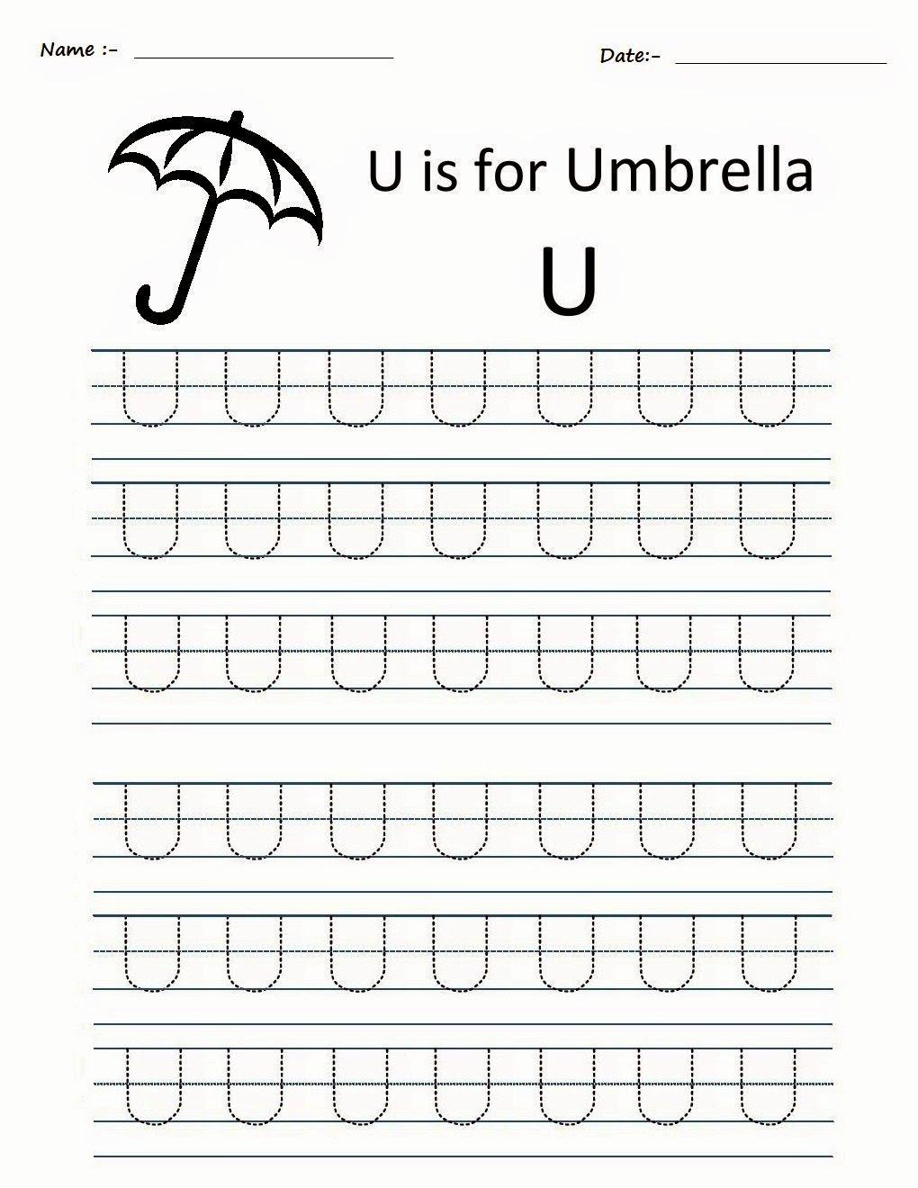 Preschool Letter U Tracing Worksheets in 2020 Tracing