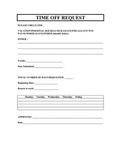 Time Off Request Template Time Off Request Form Employee Handbook Return To Work Form
