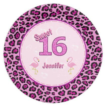 Shop Flamingo Sweet Sixteen Personalized Birthday Paper Plate created by C_Katt.  sc 1 st  Pinterest & Flamingo Sweet Sixteen Personalized Birthday Paper Plate - #birthday ...